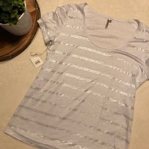 Gray and Silver Metallic Striped Classic T Shirt